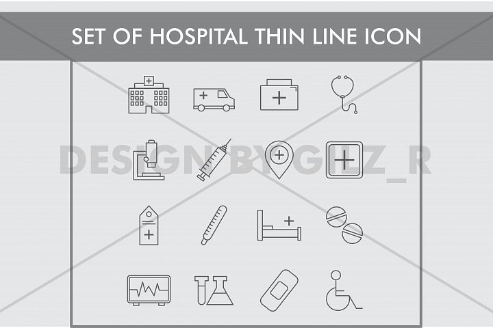 Set of Hospital Thin Line Icons
