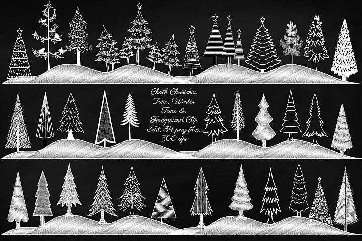 Christmas & Winter Chalk Trees Clip Art