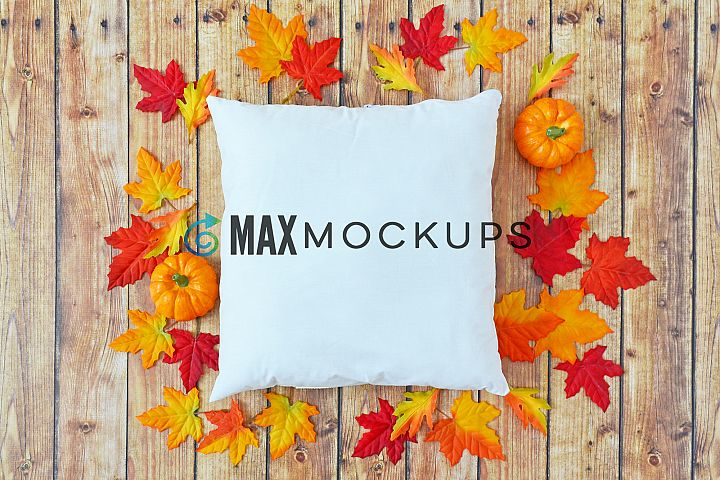 Pillow Mockup, Fall leaves, Halloween pumpkins, flatlay