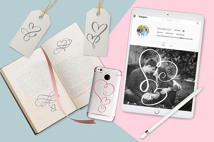 Lovingly Symbol Flourish Hearts Font example image 3