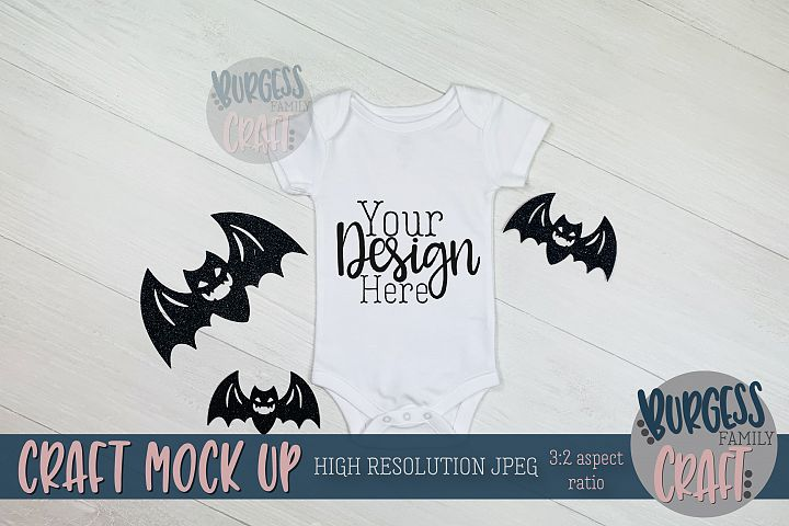Halloween baby bodysuit bats Craft mock up | High Res JPG