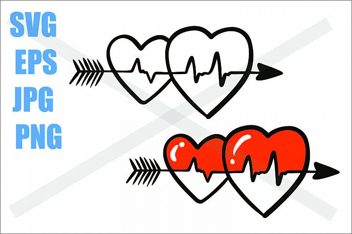 Two Heart Beat - SVG EPS JPG PNG