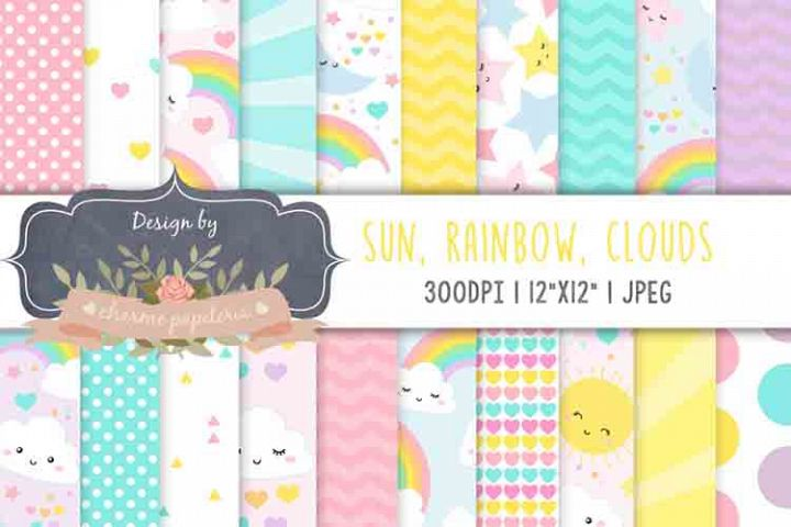 Sun Clouds Rainbow Spring Digital Paper Baby Shower Girl