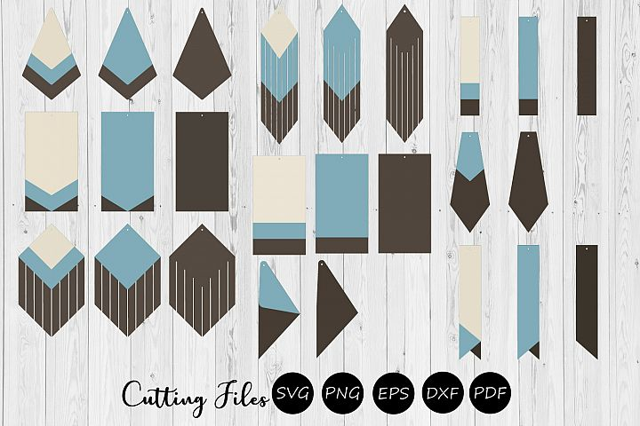 9 Stacked Geometric & Fringe Earrings | SVG cutting files |
