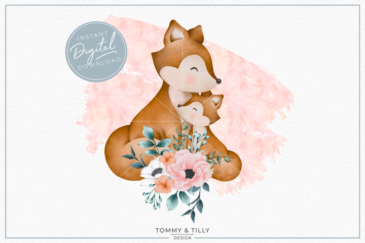 Floral Pink Mummy and Baby Fox - Sublimation PNG Clipart