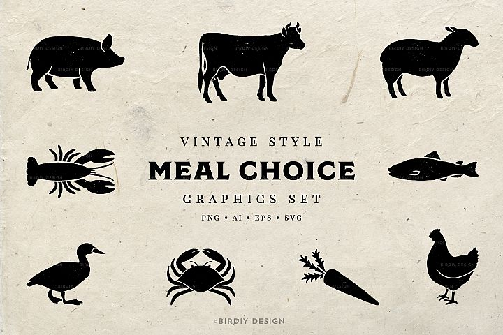 Meal Choice Icons - Vintage Texture