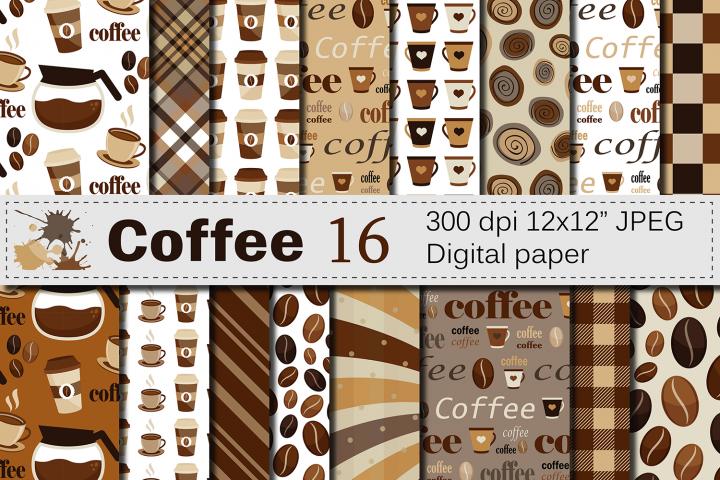 Coffee Digital paper pack / Coffee beans pattern / Coffee backgrounds / Brown Scrapbooking paper