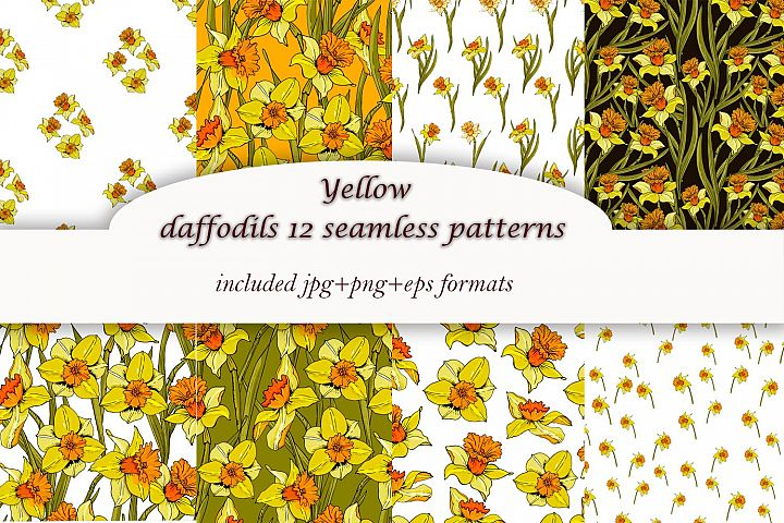 Yellow spring daffodils - 12 patterns