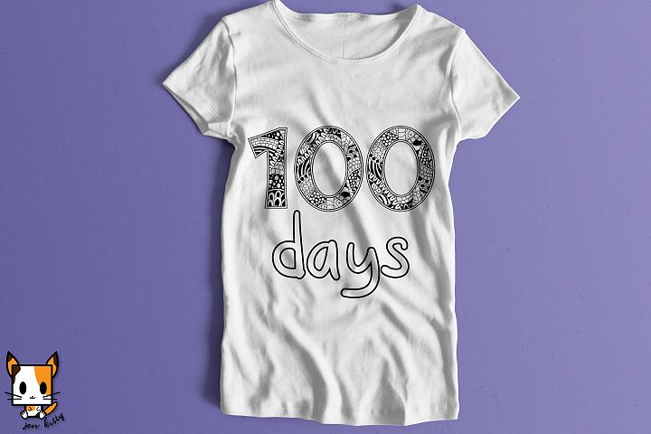 100 Days of School - Coloring Shirt Zentangle SVG PNG DXG