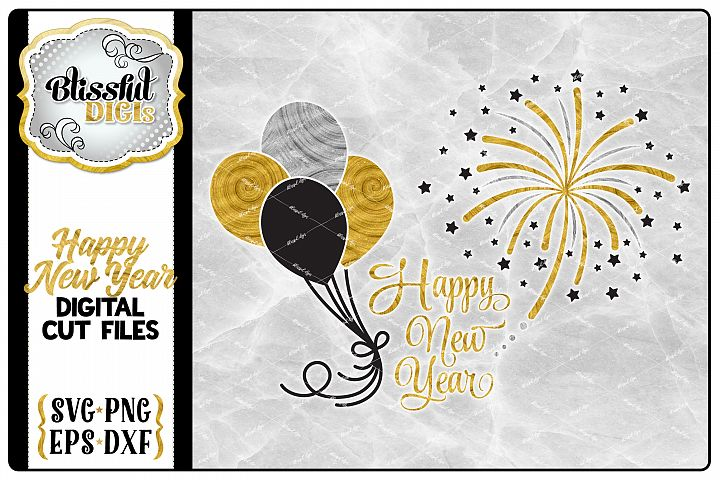 Happy New Year - Digital Cut File - SVG, EPS, DXF, PNG