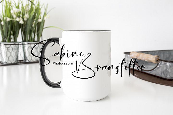 Styled Stock Photo 150z Black And White Coffee Mug Mockup