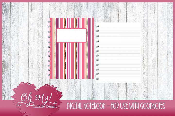 Sweet N Sassy Stripes Digital Notebook for iPad GoodNotes