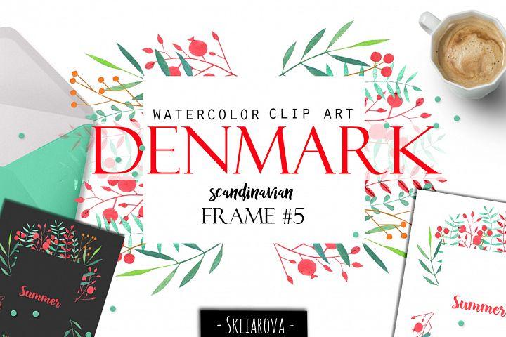 Denmark. Scandinavian floral frame #5