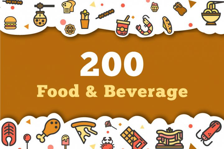 200 Food and Beverage Icon Pack