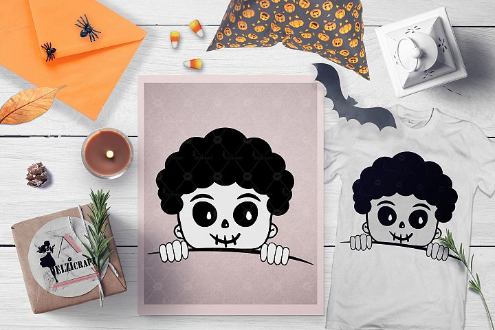 Halloween Afro Peeking Skeleton Boy Face SVG Cut File