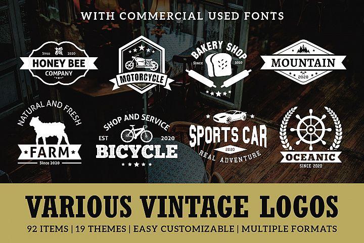 Various Vintage Logo Template Bundle