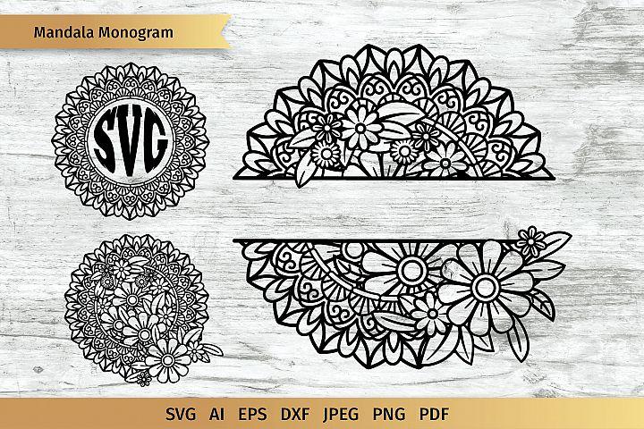 Split Mandala| Floral Mandala| Circle Monogram| Cut File