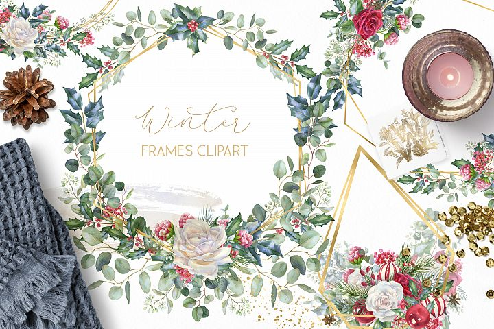 Winter frames clipart, watercolor Christmas borders png