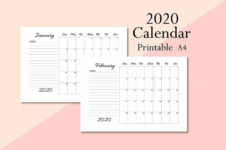 Calendar 2020, Minimal calendar