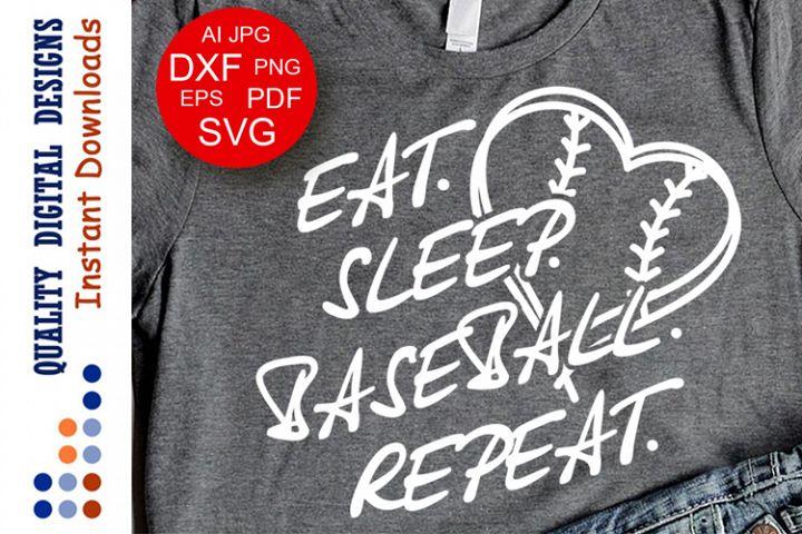 Eat Sleep Baseball Repeat Baseball shirt Heart