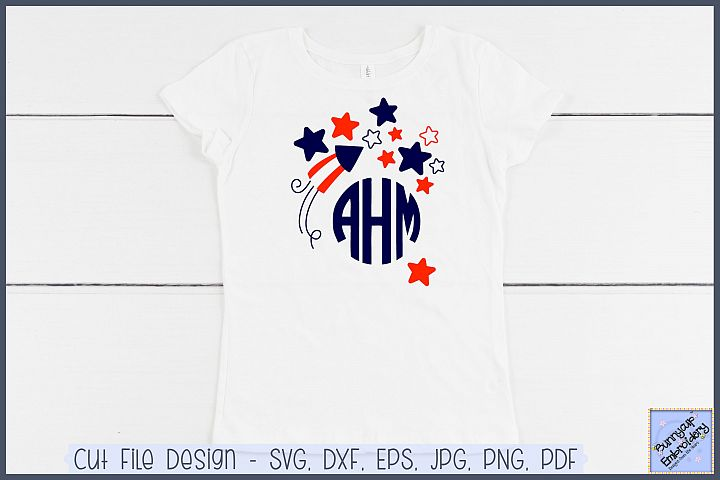 Fourth Of July Monogram Topper - SVG and Clipart