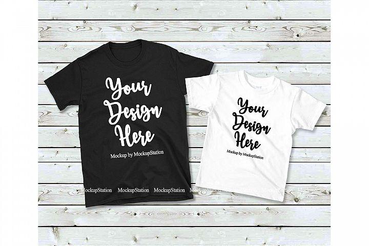 0894ecb7 Matching Family T-Shirts Mockup, Parents Kids Shirt Flat Lay