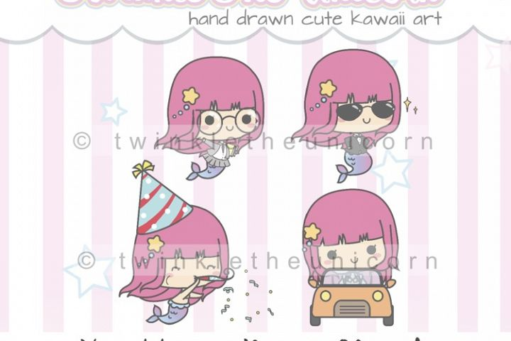 KAWAII MERMAID CLIPART, png graphic collection, school, planner girl, study, brithday party, car travel, cool clipart, cute clipart