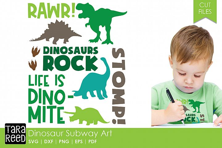 Dinosaur Subway Art - Dinosaur SVG & Cut Files for Crafters