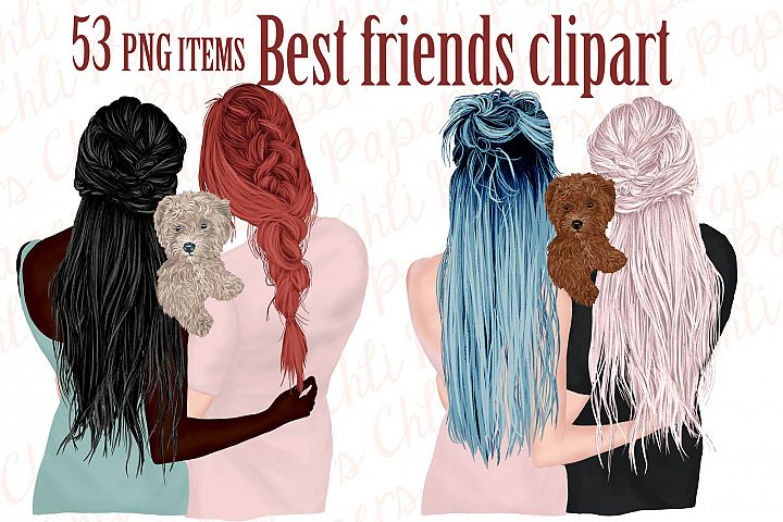 Best Friends Clipart,Girls and Dogs, Dog clipart