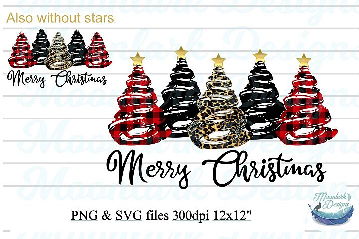 Patterned Brush Stroke Trees Merry Christmas PNG SVG