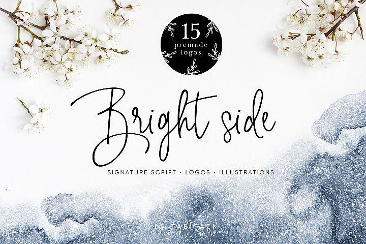 Bright side signature script font+ logos