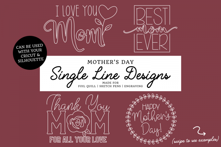 Foil Quill   Mothers Day Single Line Designs  Sketch Files