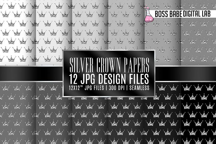 Seamless Grey and Silver Crown Papers