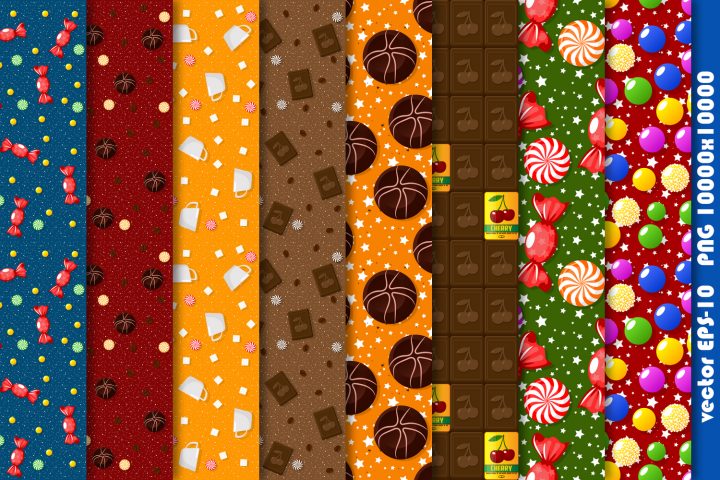 Candy theme seamless patterns.