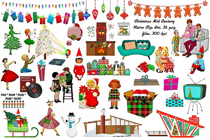 Mid Century Retro Christmas Clip Art...ATOMIC AGE...