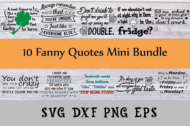 Fanny quotes mini bundle Svg Dxf Png Jpg Eps vector file Cut