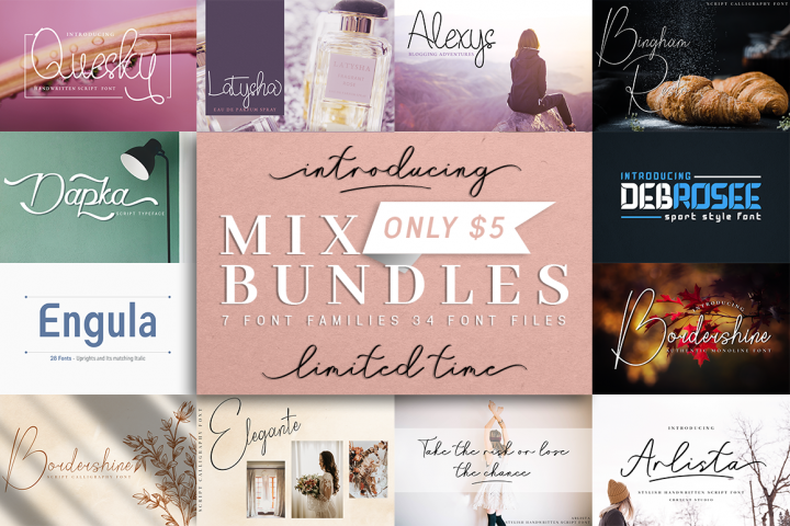 Mix Font Bundle - 34 fonts for only $5