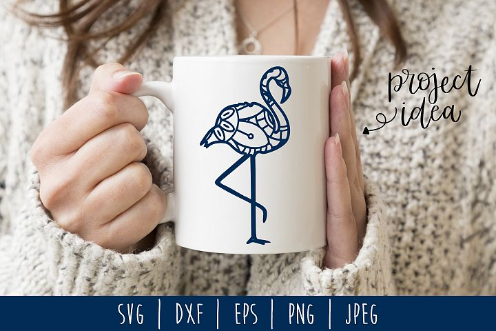 Flamingo Mandala Zentangle SVG, DXF, EPS, PNG, JPEG