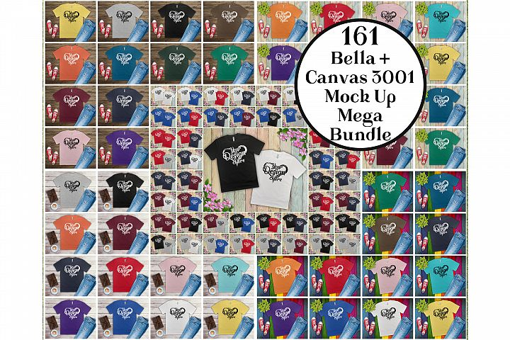 161 Bella Canvas 300 Mockups Mega Bundle Flat Lay T-Shirts