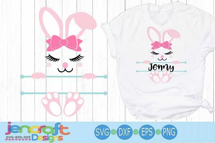 Girl Easter Bunny Ears Bow Face Svg, Split Monogram Svg