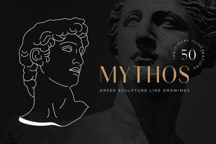 Aesthetic Greek Sculpture Line Art