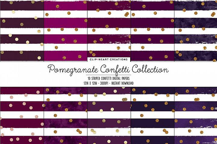 Purple & Gold Confetti Sparkle Digital Papers