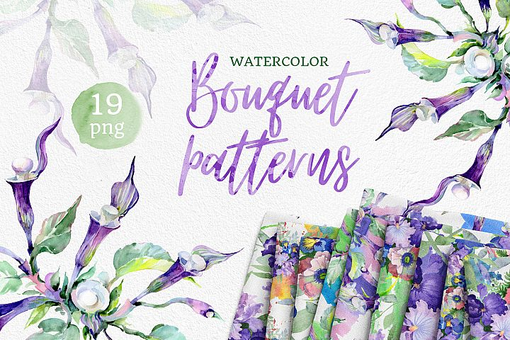 Bouquet of flowers Mademoiselle Watercolor png