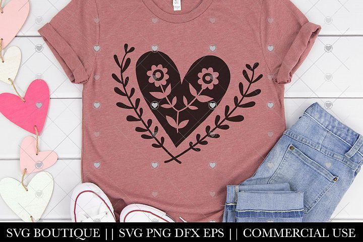 Floral Heart Valentines Day SVG - Mandala Valentine File