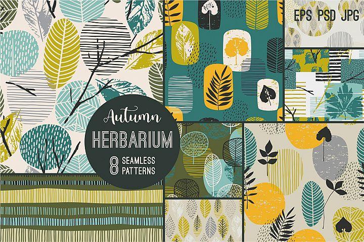 Herbarium. 8 seamless patterns