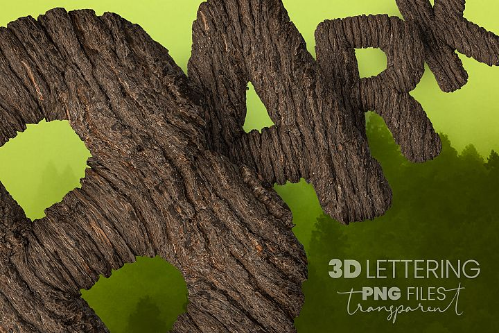 Transparent 3D Letters with Bark effect