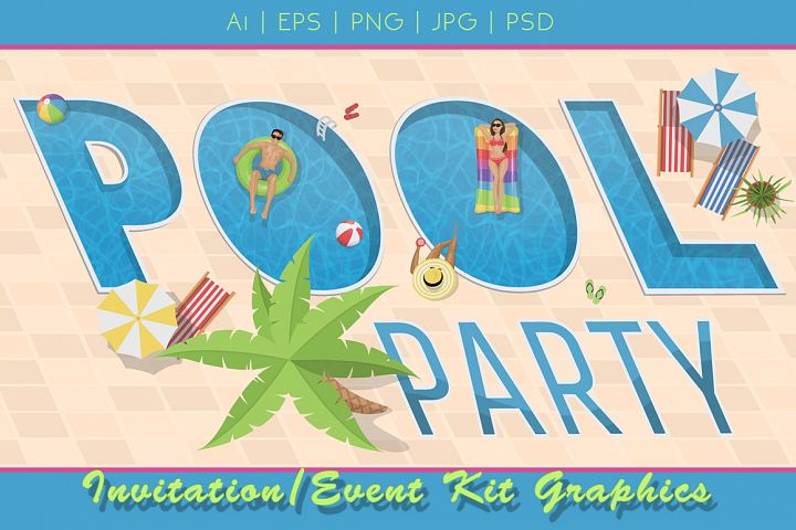 Pool Party Invitation Graphics Kit
