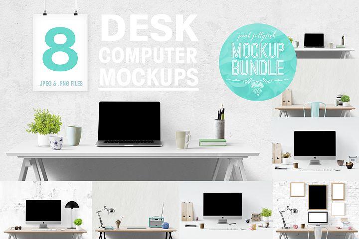 computer mockup & desk mockup bundle - Free Design of The Week Font