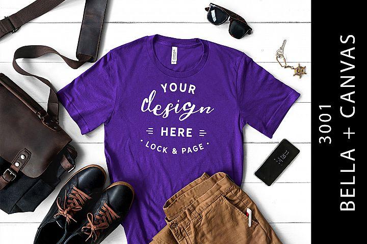 Masculine Bella Canvas 3001 T-Shirt Mockup Team Purple