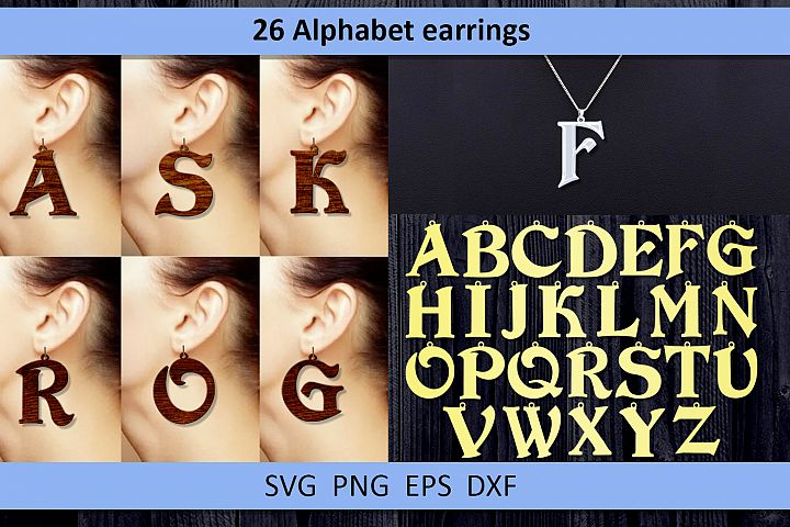 26 Leather earring svg Alphabet earrings Necklace